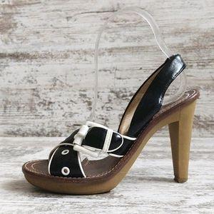 🟧Michael Kors Black & White Slingback Heels